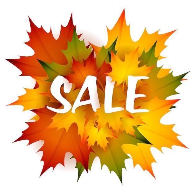葉のヒープを持つ販売季節リーフレットデザイン 無料ベクター