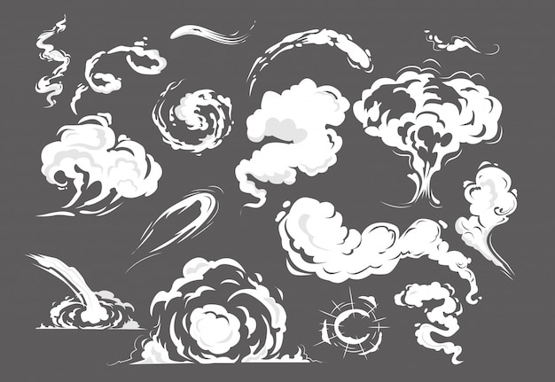Набор комиксов дыма Бесплатные векторы