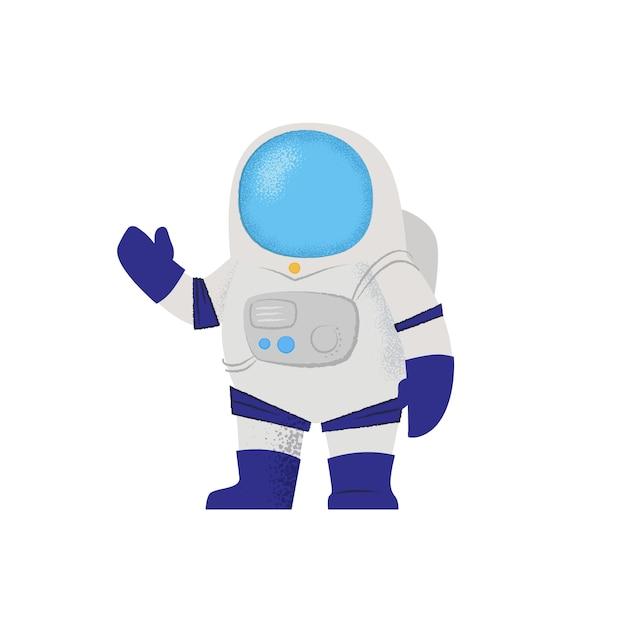 手を振っている宇宙服の宇宙飛行士。キャラクター、探査、宇宙飛行士。 無料ベクター