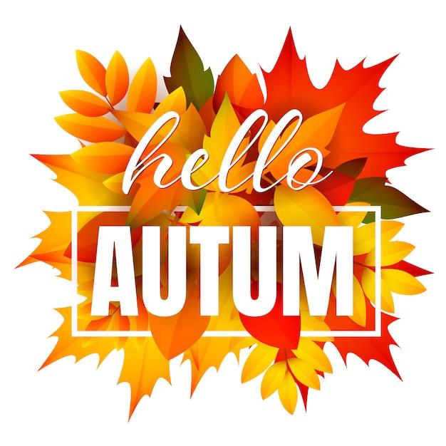 こんにちは、葉の束と秋のリーフレット 無料ベクター