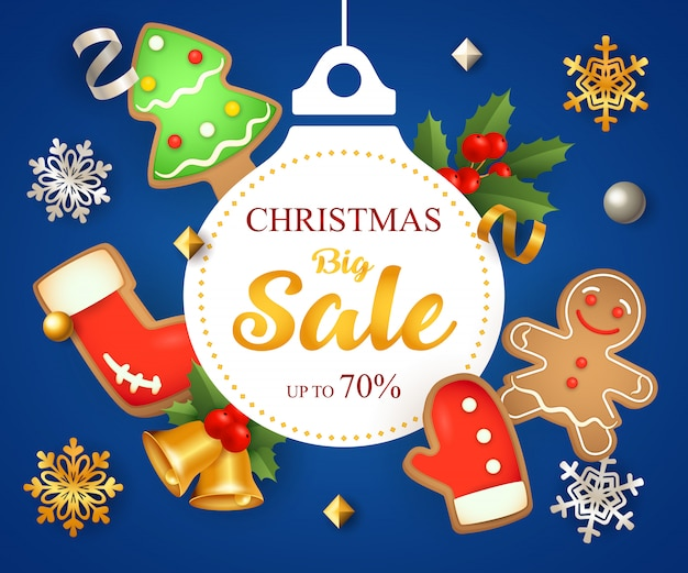 装飾とクッキーのクリスマス大セール 無料ベクター