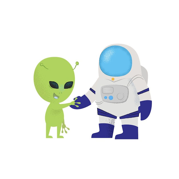 宇宙飛行士が宇宙人の手を振っています。性格、発見、探検。 無料ベクター