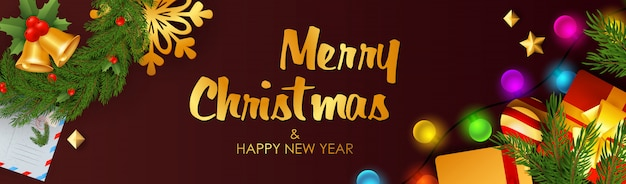 С рождеством и новым годом баннер с колокольчиками Бесплатные векторы