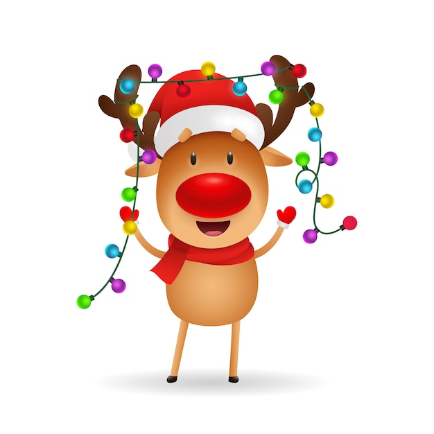 クリスマスを祝う陽気なトナカイ 無料ベクター