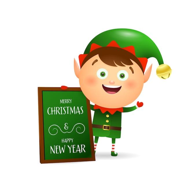 メリークリスマスを望むかわいいエルフ 無料ベクター