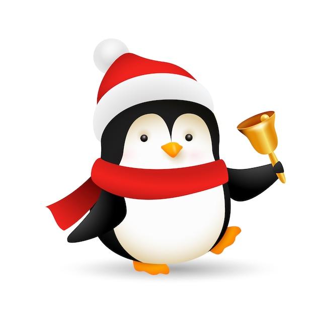 Забавный пингвин звонит в колокольчик Бесплатные векторы