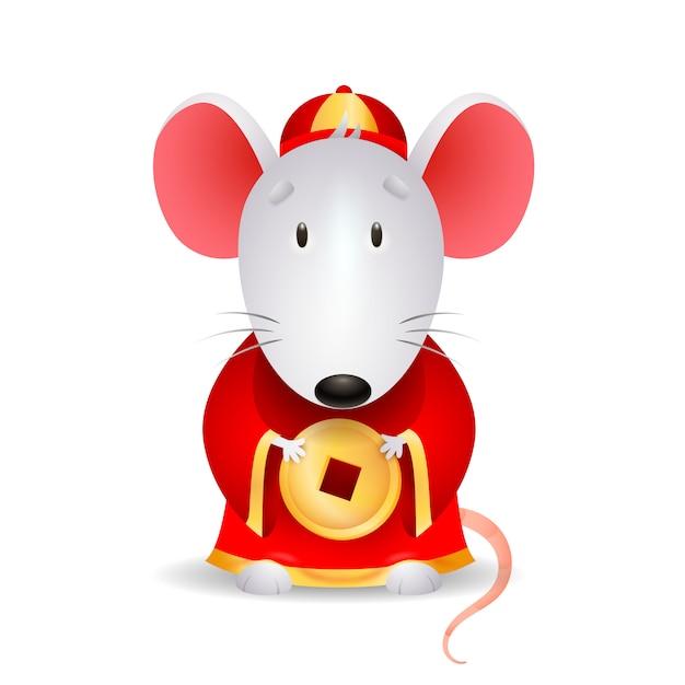 中国のコインと灰色のマウス 無料ベクター