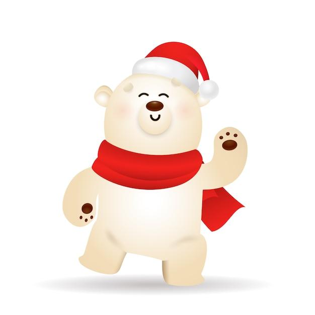 クリスマスを祝う幸せなホッキョクグマ 無料ベクター