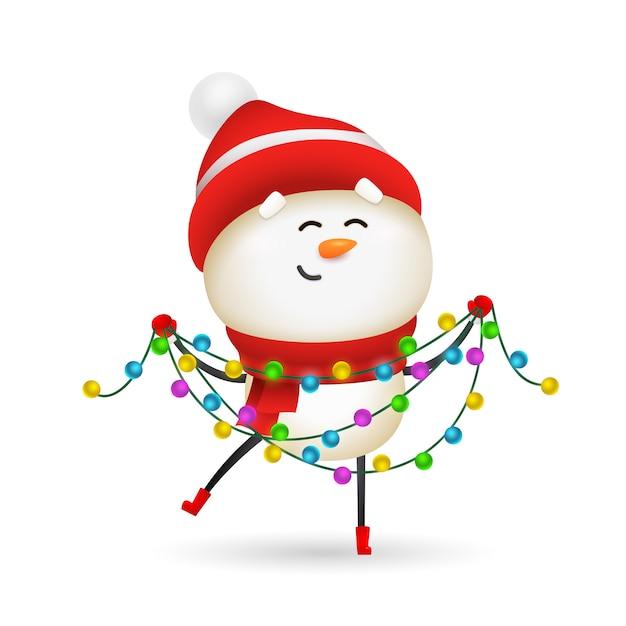 Счастливый снеговик празднует рождество Бесплатные векторы