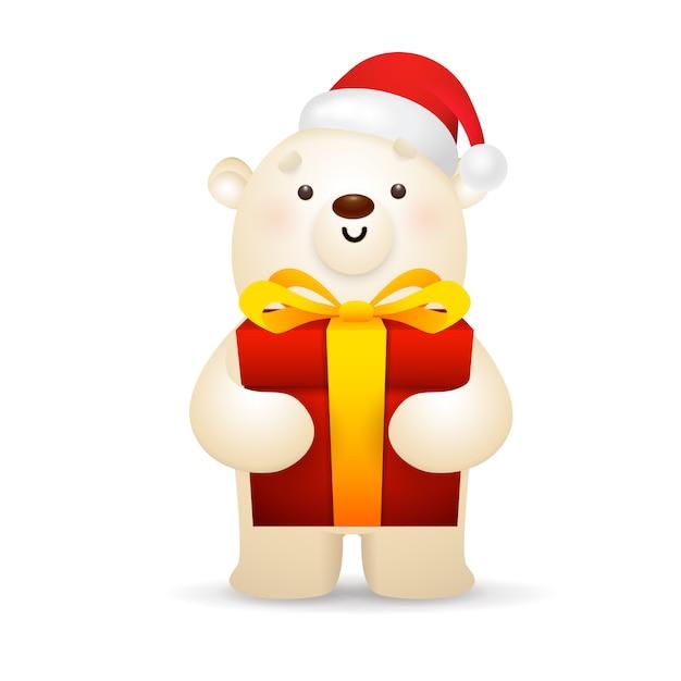 クリスマスプレゼントを持ってサンタ帽子でシロクマ 無料ベクター