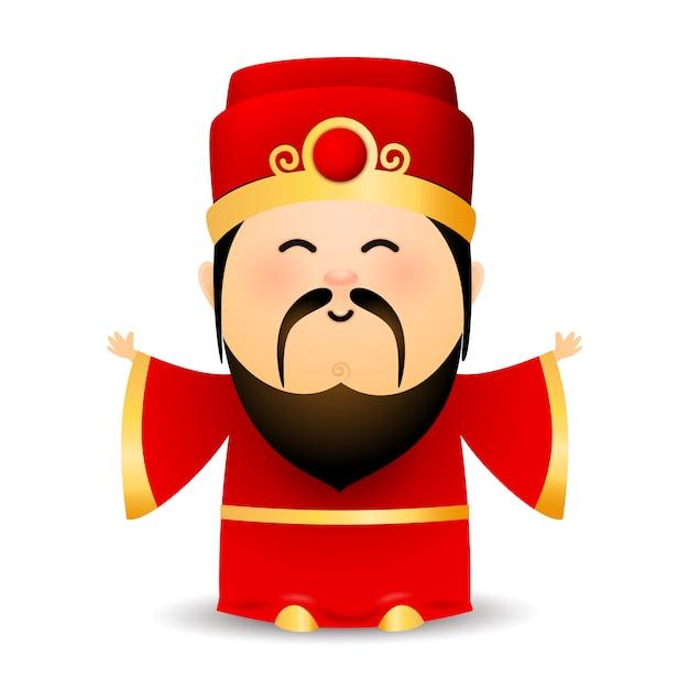 Мудрый старый китаец в красном платье Бесплатные векторы