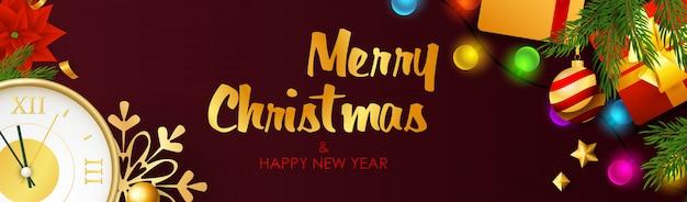 С рождеством и новым годом дизайн с лампочками Бесплатные векторы