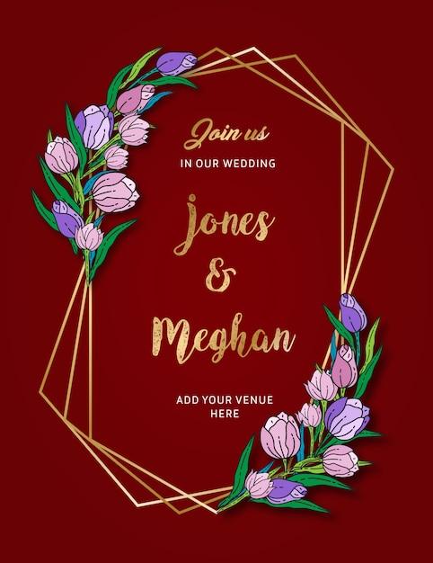 花の結婚式の招待カード Premiumベクター