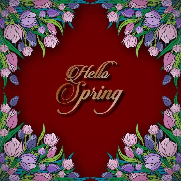 こんにちは春の花カードテンプレート Premiumベクター