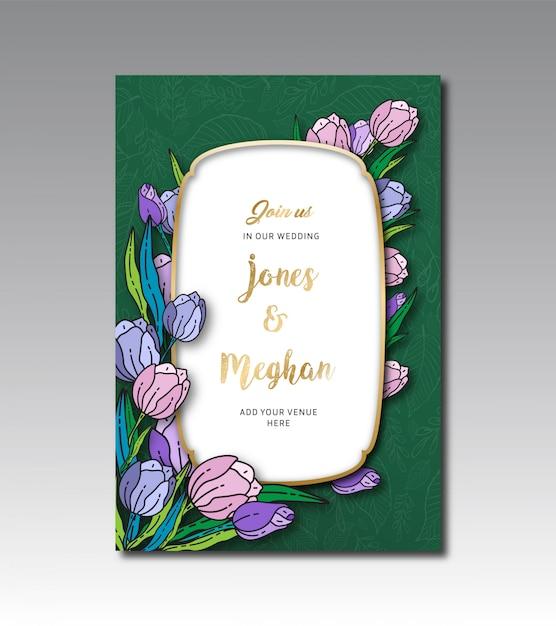 Шаблон тюльпана цветочные свадебные карточки Premium векторы