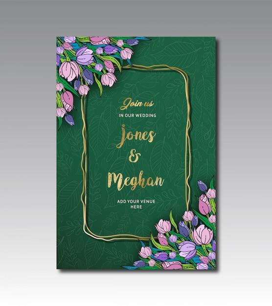 チューリップ花の結婚式のカードテンプレート Premiumベクター