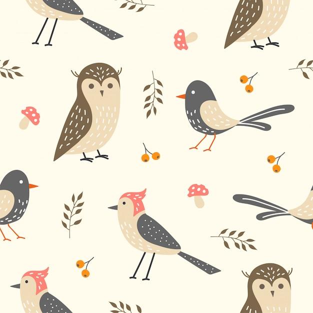 壁紙のためのかわいい鳥のシームレスパターン Premiumベクター