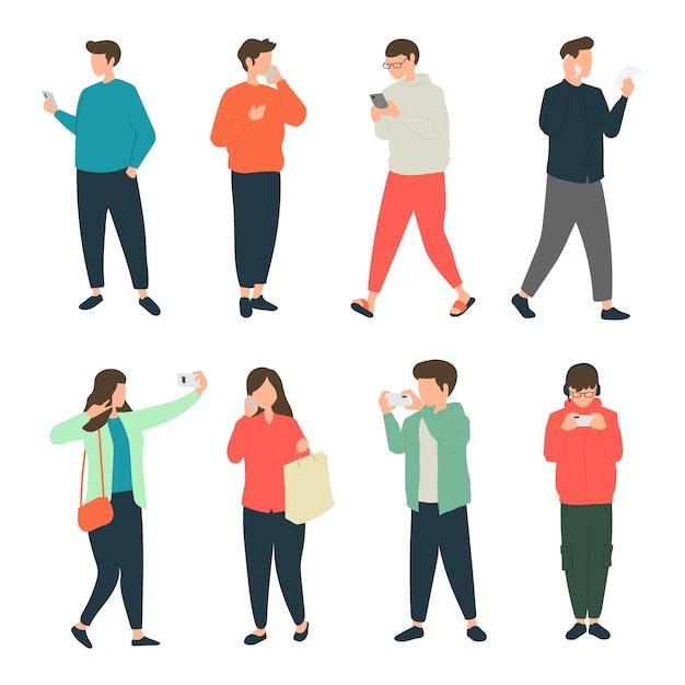 歩道を歩きながら携帯電話でさまざまなアクティビティを行う人々、携帯電話を使用しながら歩行する歩行者 Premiumベクター