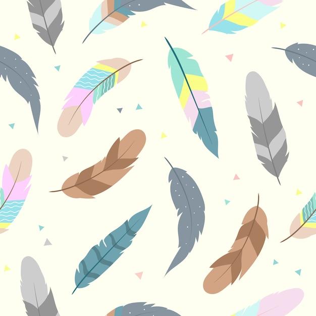 かわいい羽の壁紙のためのシームレスなパターン Premiumベクター