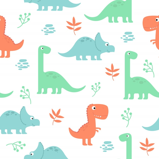 Симпатичные динозавры бесшовные шаблон для обоев Premium векторы
