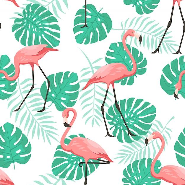 Тропический фламинго бесшовные шаблон для обоев Premium векторы
