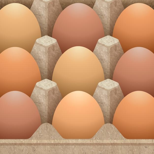 卵の図で設計された紙卵カートン包装 Premiumベクター