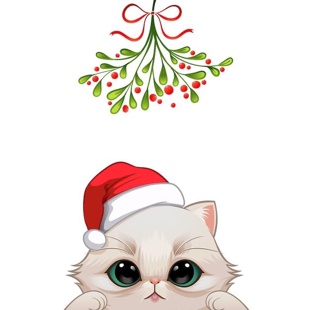 Рождественский портрет милой кошки Premium векторы
