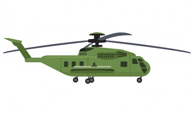 Вертолет с ракетой на белом фоне Premium векторы