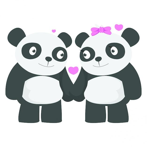 Пара панда знакомства в день святого валентина Premium векторы