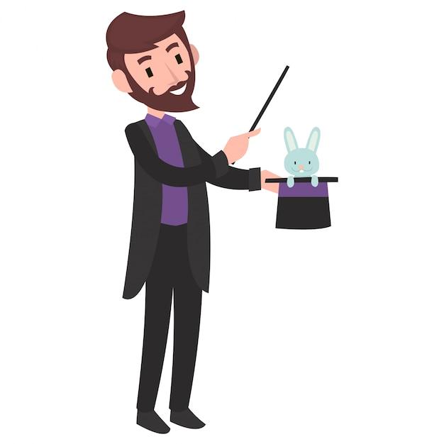 サーカスの舞台で魔法をやっている魔術師 Premiumベクター