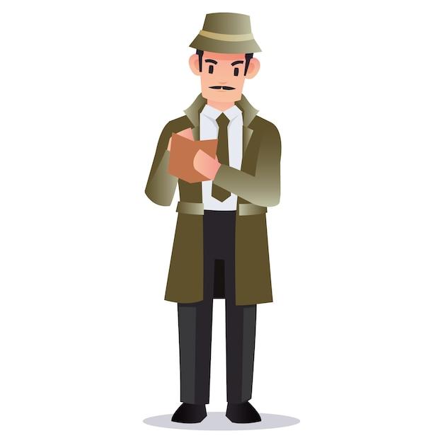 プロの探偵は多くの証拠をメモを取るために本を持っています Premiumベクター