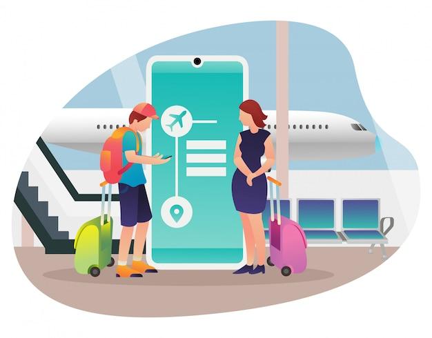 Иллюстрация пары которая пойдет на каникулы используя самолет. Premium векторы