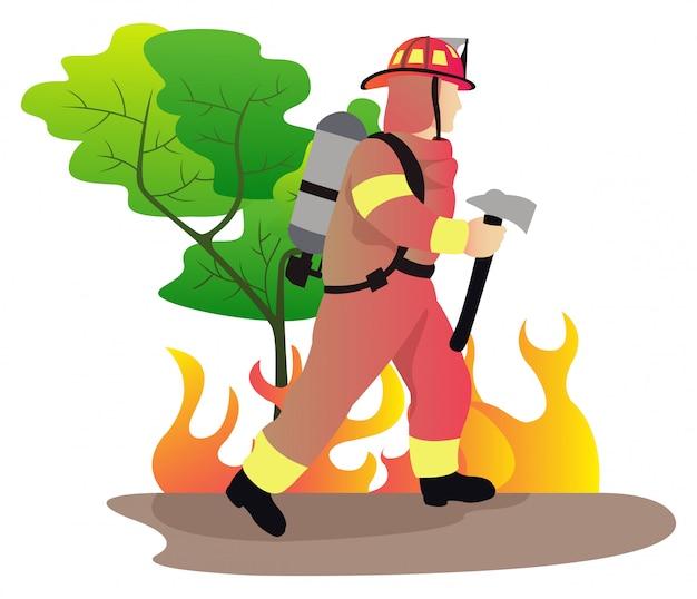 森林での炎との強力な消防士の戦いは、消火栓ホースから大きなスプレー水を使用します Premiumベクター
