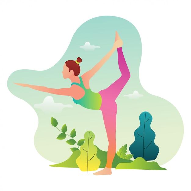 Профессиональные спортсмены йоги практикуются для участия в международных соревнованиях по йоге Premium векторы