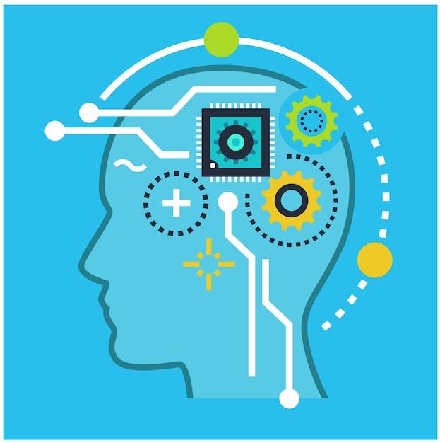 技術と人工知能のシンボル Premiumベクター