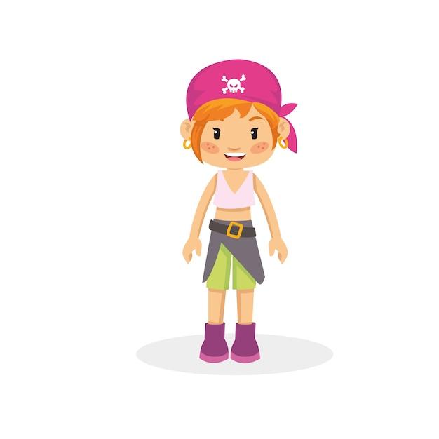 美しい海賊の少女 Premiumベクター