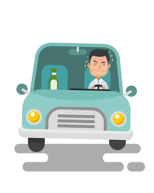 ヤングガイ、飲酒運転 Premiumベクター