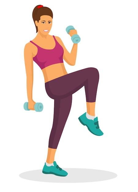 ダンベルを使って運動をしている若い女性 Premiumベクター