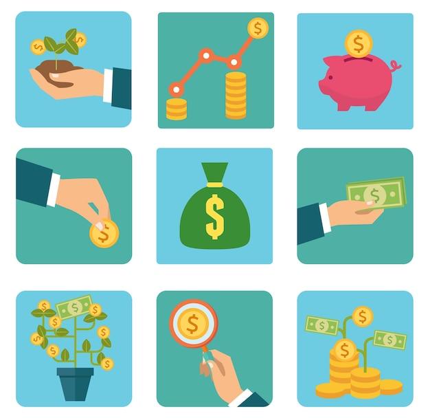 お金と投資フラットベクトルアイコン Premiumベクター