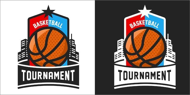 バスケットボールトーナメントのロゴ Premiumベクター