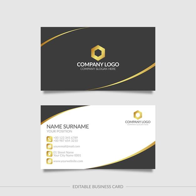 Черный и золотой элегантный шаблон визитной карточки с абстрактными формами Premium векторы