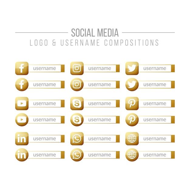 ソーシャルメディアのゴールデンロゴとユーザー名の構成 Premiumベクター