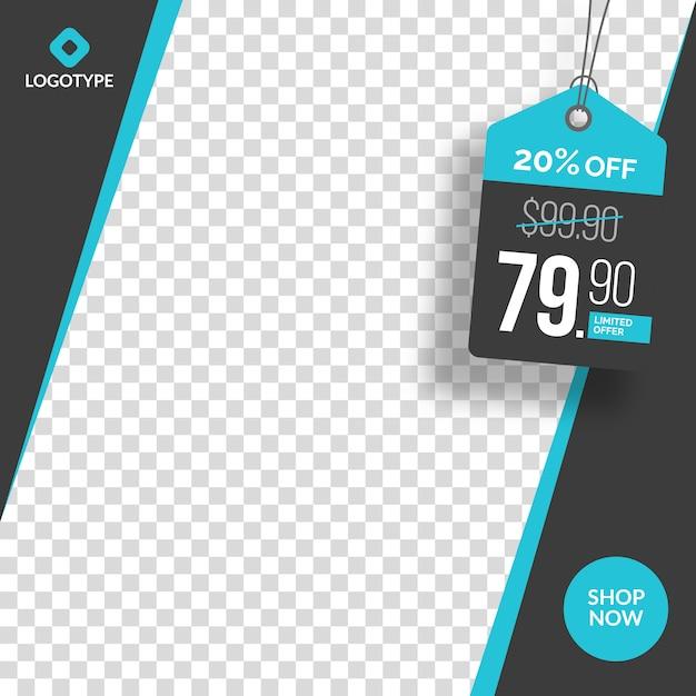 Современный редактируемый баннер сми с пустой абстрактный фон Premium векторы