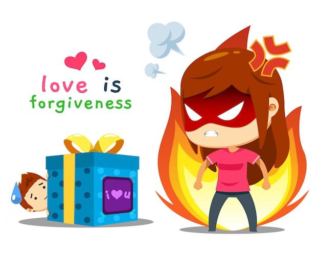 怒っている女の子と贈り物を持つ男の子 Premiumベクター