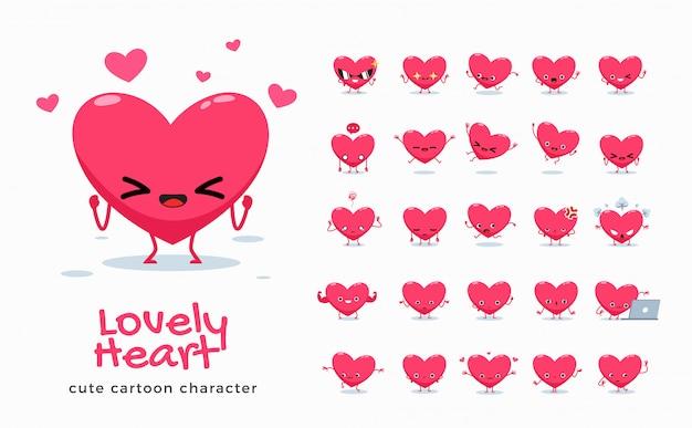 愛の漫画画像のセット。図。 Premiumベクター