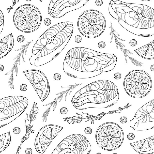 サーモンステーキとのシームレスなパターン。手描きサーモンステーキ、レモンウェッジ、ハーブ。 Premiumベクター
