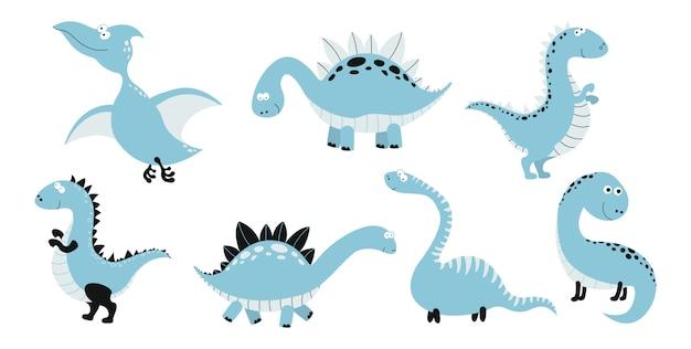 面白い漫画恐竜コレクション。 Premiumベクター