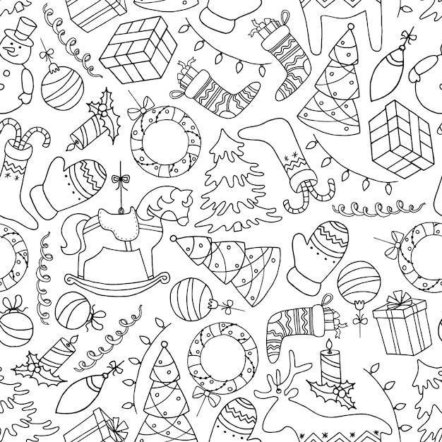 落書きスタイルでかわいい手描き下ろしクリスマスシームレスパターン。 Premiumベクター