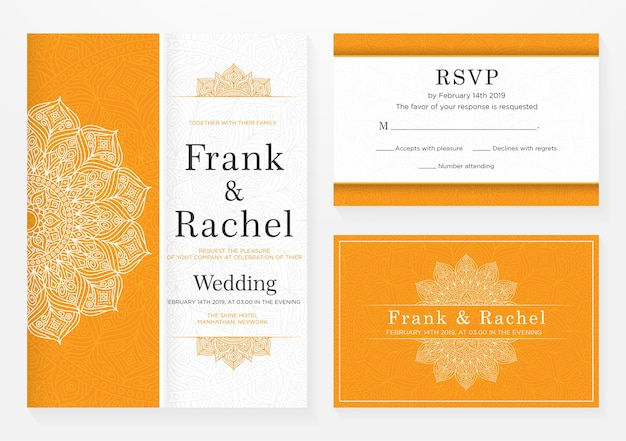 エレガントなスタイルの結婚式招待状テンプレートデザインのセット Premiumベクター