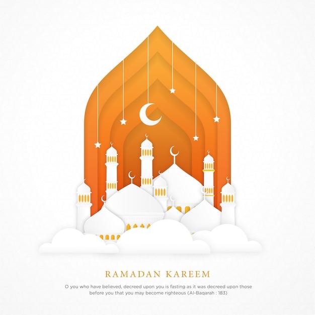 現実的なモスクのドームを持つイスラムの背景 Premiumベクター
